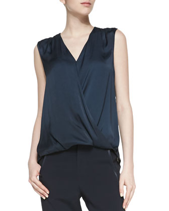 Sleeveless Satin/Slub Surplice Top