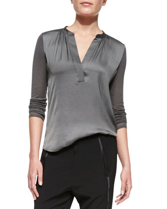 Satin-Front Loose Jersey Top, Slate