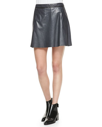 A-Line Leather Miniskirt