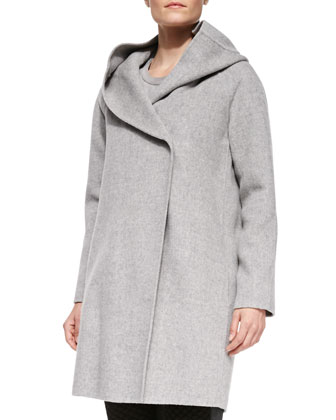 Wool-Blend Hooded Coat