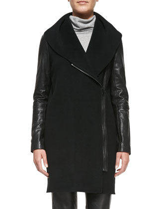 Leather-Sleeve Shawl-Collar Coat, Black