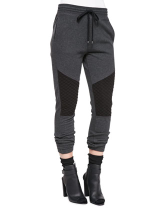 Quilted-Detail Jersey Sweatpants