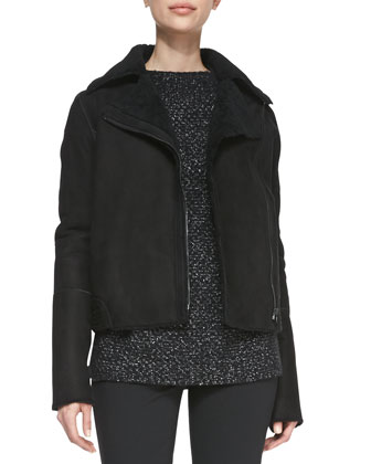 Asymmetric Shearling/Suede Zip Jacket