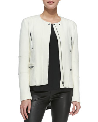 Boucle Moto Jacket, Off White