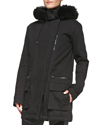 Asymmetric Fur-Trim Quilted Parka