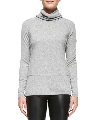 Mixed-Weight Cashmere Turtleneck, Heather Steel