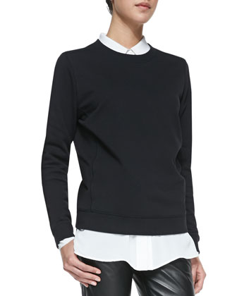 Quilted-Patch Knit Sweatshirt, Black
