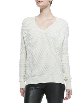 Brick-Pattern V-Neck Sweater, Winter White