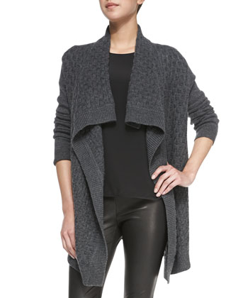Open-Front Brick-Textured Cardigan, Flannel Gray