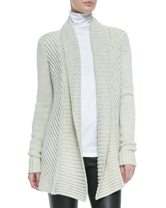 Ribbed Open-Front Knit Cardigan, Soft Gray
