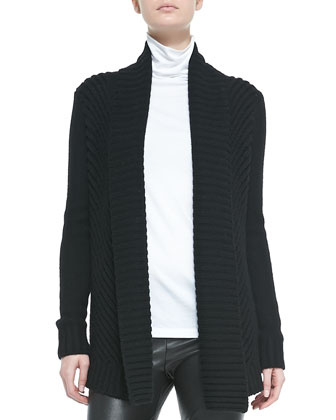 Ribbed Open-Front Knit Cardigan, Black
