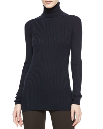 Slim Ribbed Knit Turtleneck, Coastal