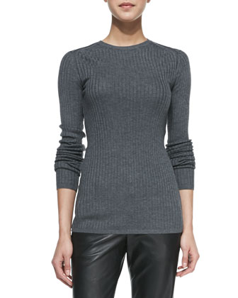 Ribbed Knit Crewneck Sweater