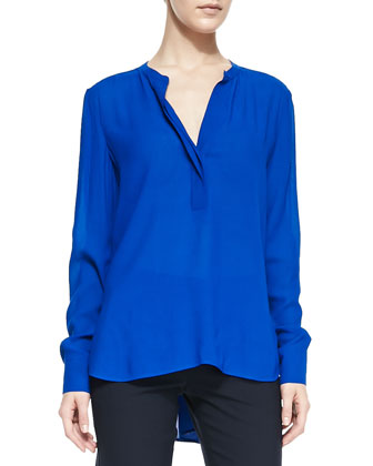 Trapunto-Placket Georgette Blouse