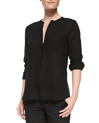 Long-Sleeve Shirt with Trapunto Placket, Black