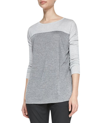 Long-Sleeve Tee with Silk Piping, Dark/Heather Gray