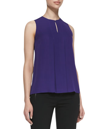Silk Pintuck Shell with Keyhole Front