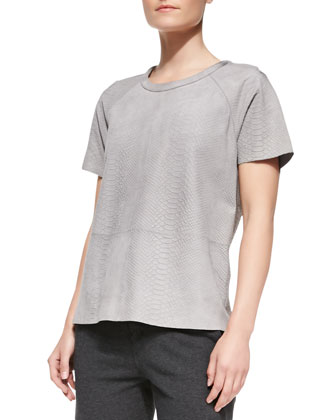 Snake-Embossed Short-Sleeve Leather Tee