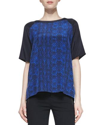 Printed Contrast-Sleeve Silk Tee