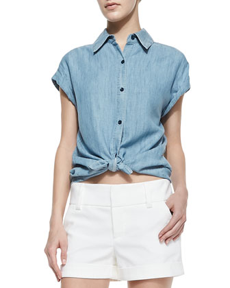 Oren Chambray Cuffed-Sleeve Shirt