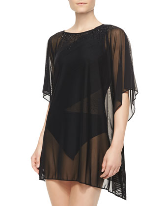 Mesh Boat-Neck Cover-Up Tunic