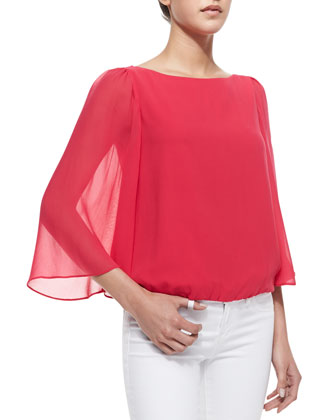 Katelyn Sheer-Bell-Sleeve Top, Pink