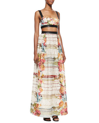 Dian Leather-Trim Cutout Maxi Dress