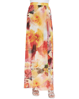 Leah Long Floral-Print Wrap Skirt