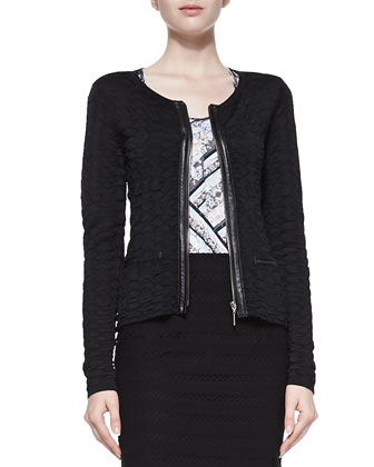 Wild Card Leather-Trim Cardigan