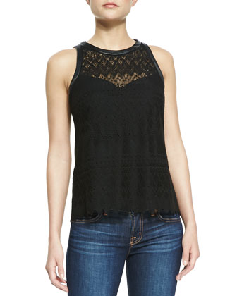 Take A Trip Leather-Trim Eyelet Tank Top