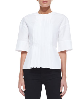 Half-Sleeve Pleated-Front Top, White
