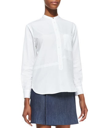 Seamed Pocketed Menswear-Inspired Shirt