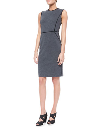 Marcia Sleeveless Sheath Dress With Piping Accent