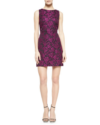 Eli Floral-Jacquard Sleeveless Dress