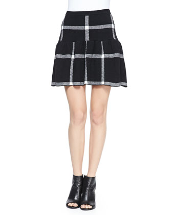 Kimbra Checkered Dropped-Waist Skirt
