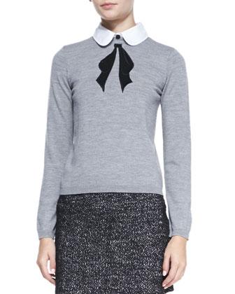 Ribbon Bow Knit Sweater, Grey