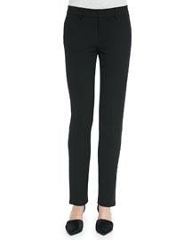 Slim Straight-Leg Crepe Trousers