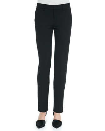 Slim Straight-Leg Crepe Trousers