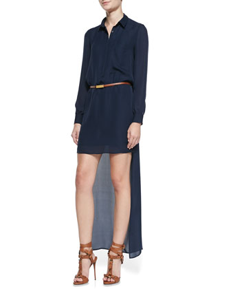 High-Low Belted Chiffon Shirtdress