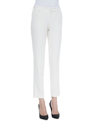 Pleated Knit Tailored Pants, Swan