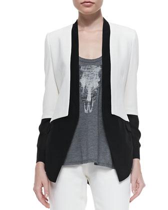 Georgette-Shirttail Crepe Blazer, Swan-Black