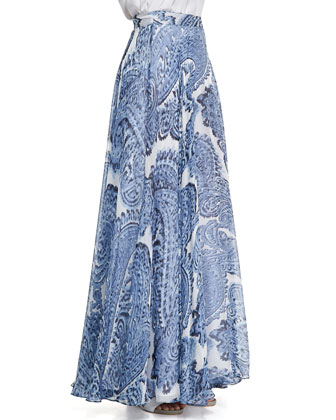 Watercolor Paisley-Print Maxi Skirt