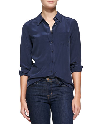 Brett Long-Sleeve Silk Blouse