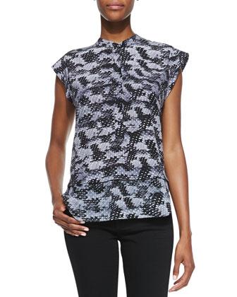 Summer Storm Printed-Silk Cap-Sleeve Top