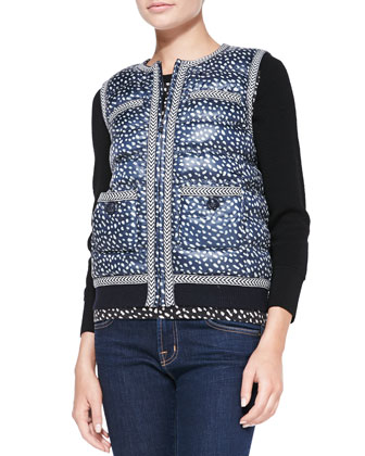 Macey Printed Knit-Trim Puffer Vest