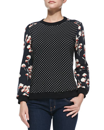 Ronnie Dotted/Floral-Print Pullover