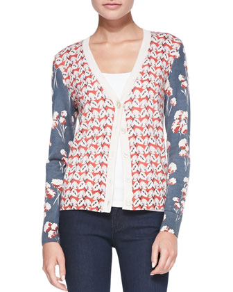 Shia Mixed-Print Wool Cardigan