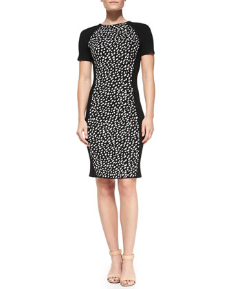 Gemma Short-Sleeve Pony-Dot Dress
