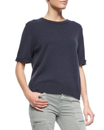 Audrey Cashmere Short-Sleeve Sweater