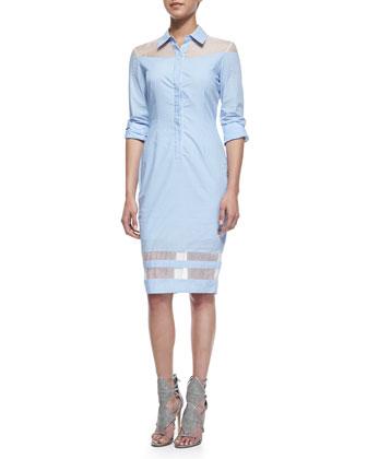 Organza-Inset Pinstripe Shirtdress